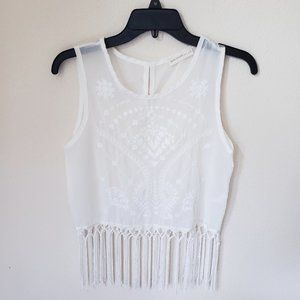 🌻 Haute Society Embroidered Fringe Top